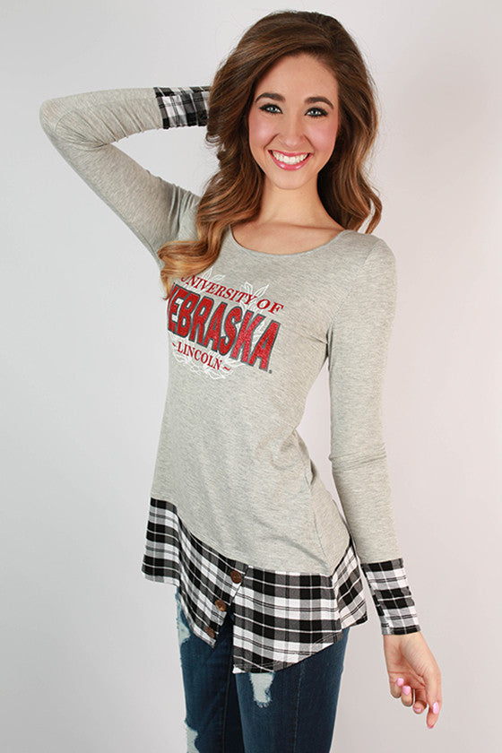 University of Nebraska Plaid Tunic
