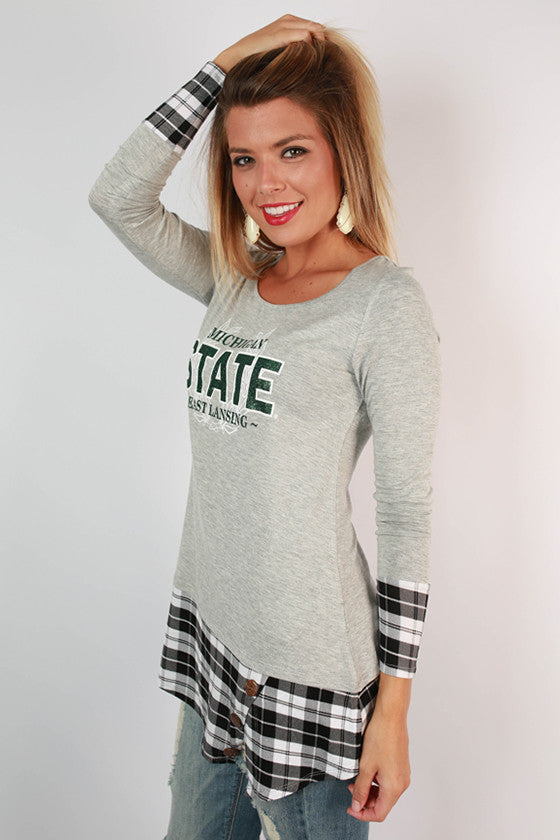 Michigan State University Plaid Tunic