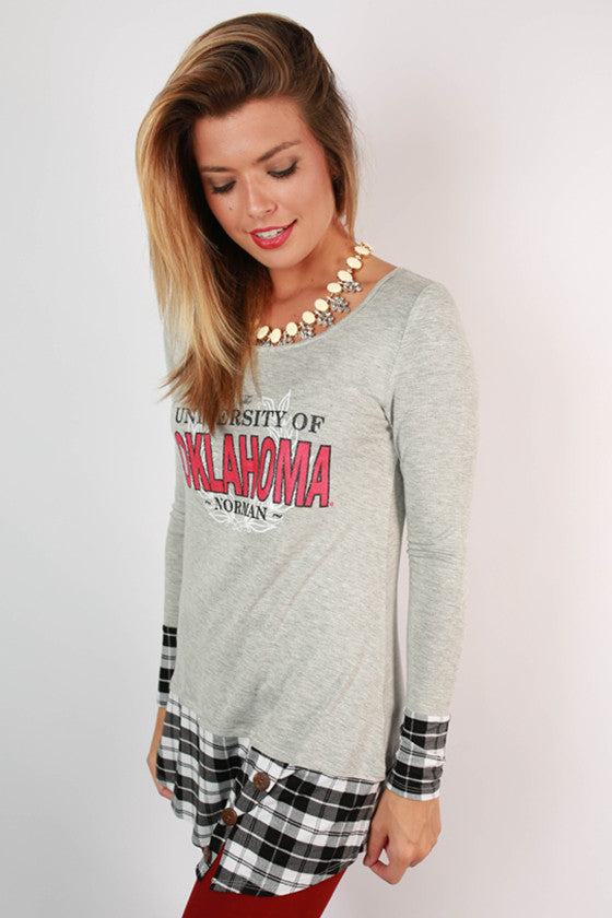 University Of Oklahoma Plaid Tunic