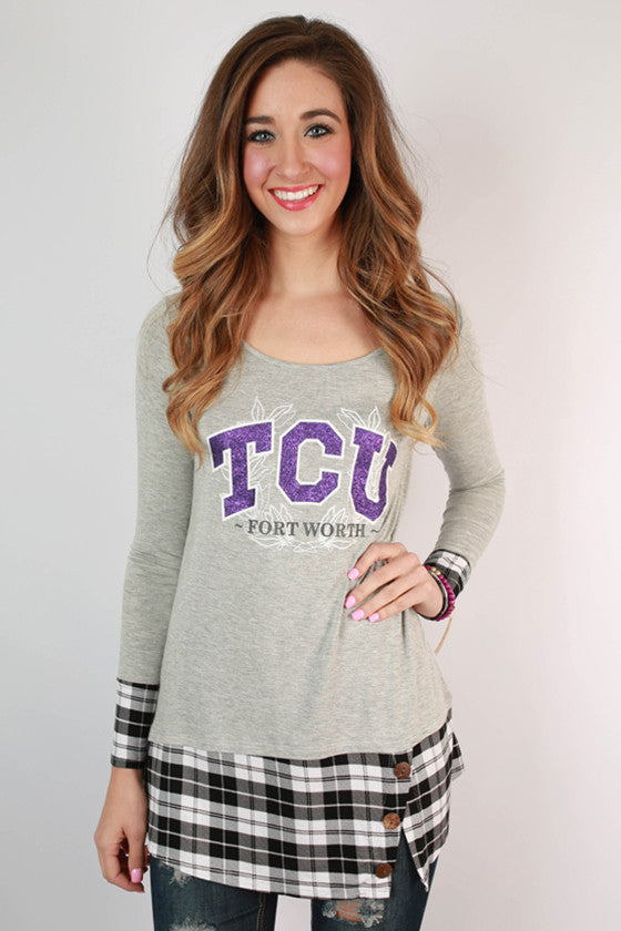 Texas Christian University Plaid Tunic