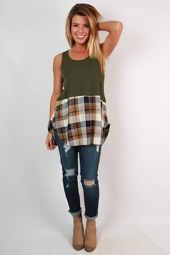 Travel With Me Plaid Tunic in Olive