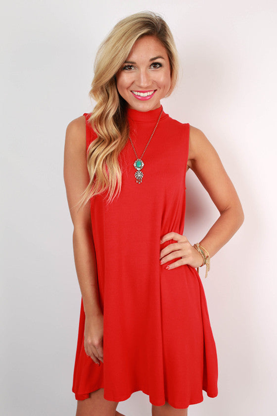 Sipping Bubbly Shift Dress in Red