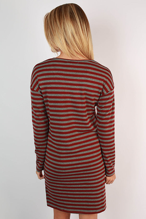 Cheers to Stripes Dress in Burgundy