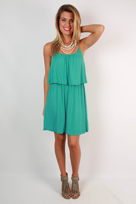 Brunch Hour Layered Dress in Turquoise