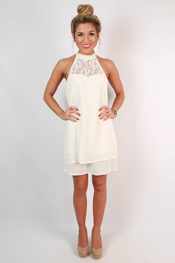 Courting in Crochet Dress in White