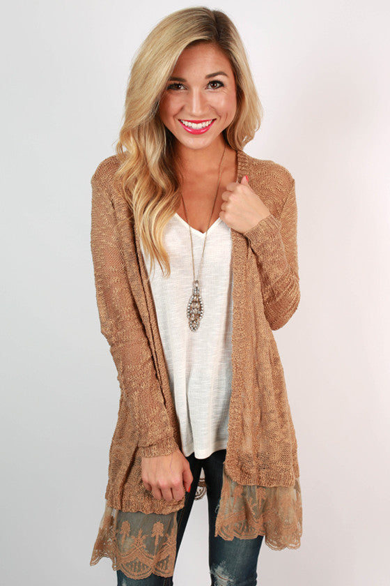 Afternoon Lattes Lace Cardigan in Khaki