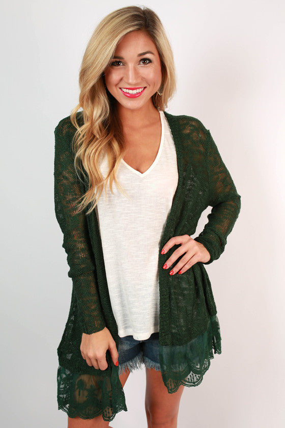 Afternoon Lattes Lace Cardigan in Forest