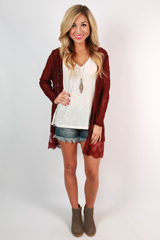 Afternoon Lattes Lace Cardigan in Maroon