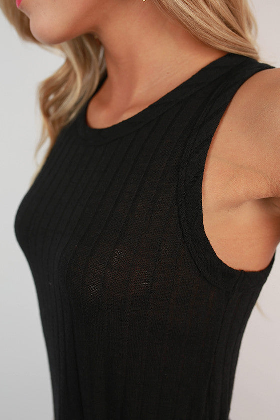 Here & Now Ribbed Tank in Black