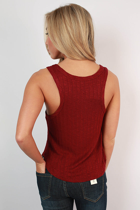 Here & Now Ribbed Tank in Ruby Wine
