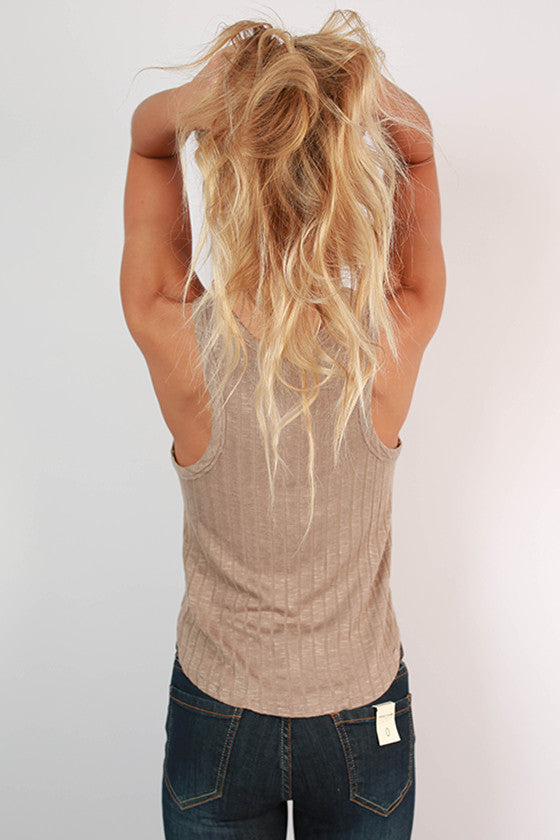 Here & Now Ribbed Tank in Oatmeal