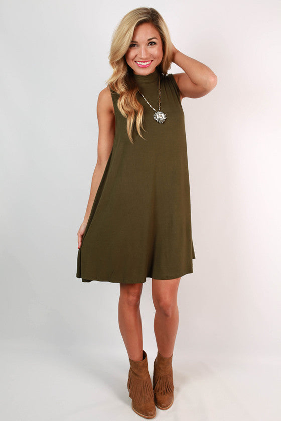 Sipping Bubbly Shift Dress in Olive