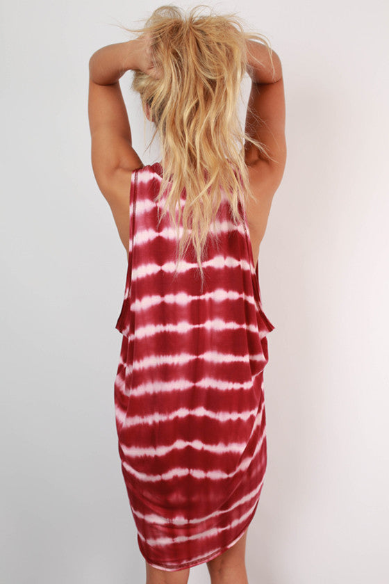 Back To My Roots Tie Dye Tank Dress in Sangria