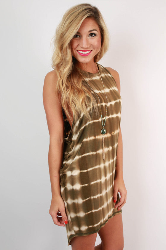 Back To My Roots Tie Dye Tank Dress in Army Green