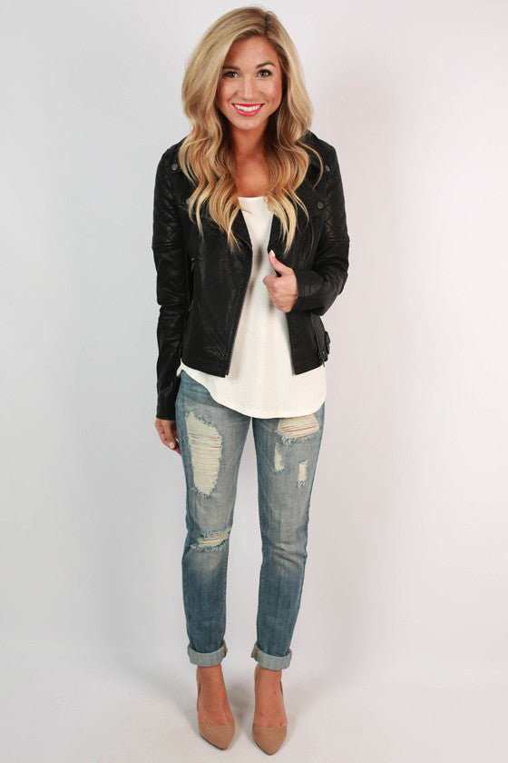 Fashion Week Chic Quilted Faux Leather Jacket