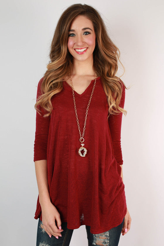 Blown Away Swing Tunic in Ruby Wine