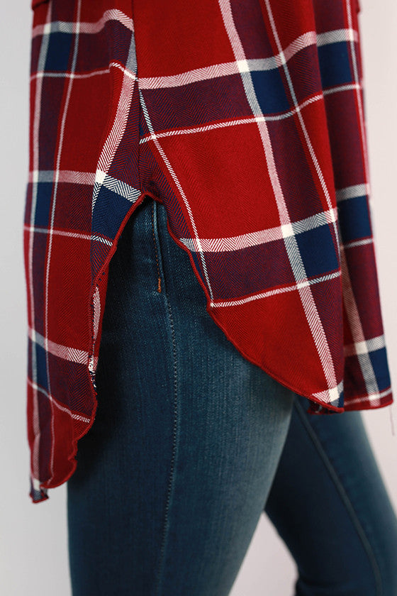 Travel With Me Plaid Tunic in Ruby Wine