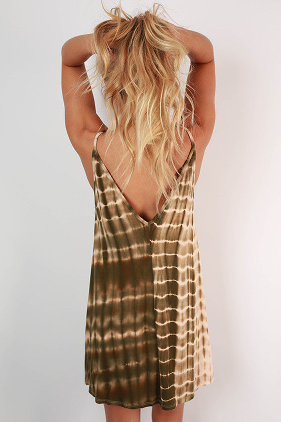 Sincerely Smitten Tie Dye Tank Dress in Olive