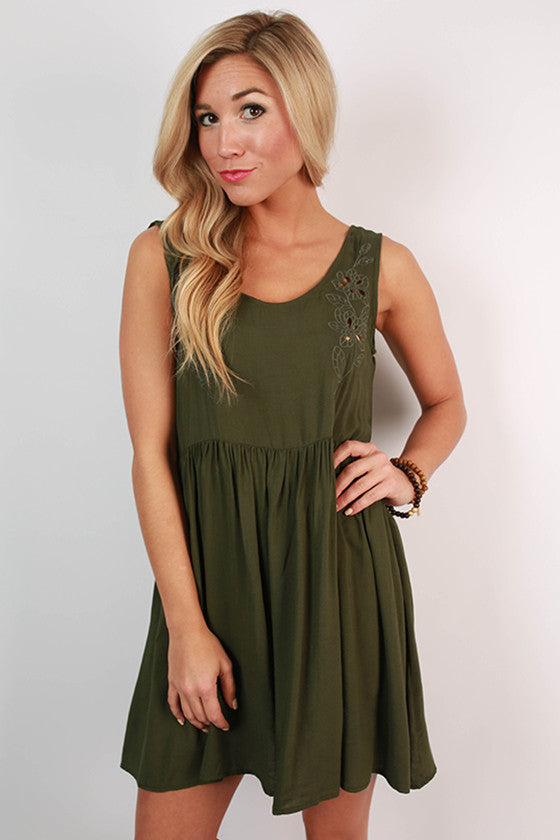 Girl's Best Friend Tank Dress in Army Green