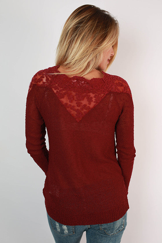 Red Wine & Roses Top in Maroon