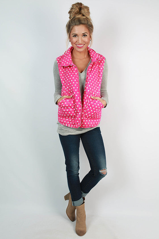Southern Prep Vest in Hot Pink