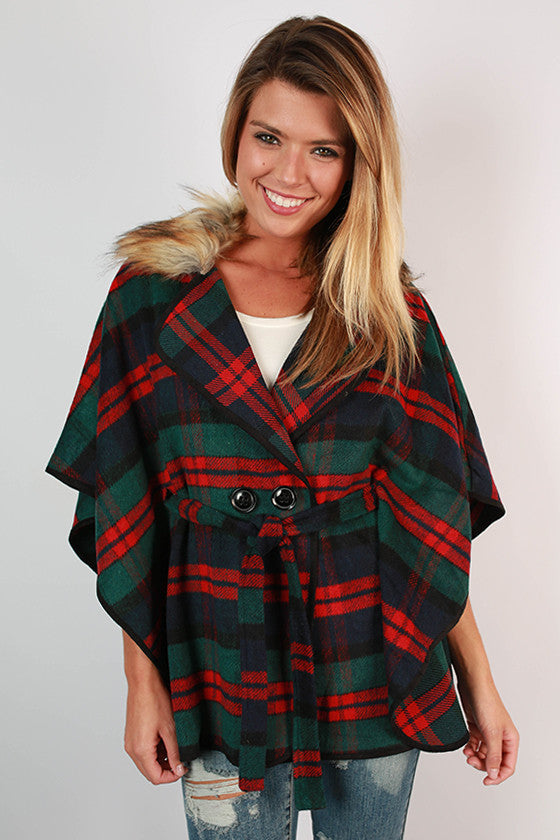 Weekend in Tahoe Faux Fur Poncho in Navy