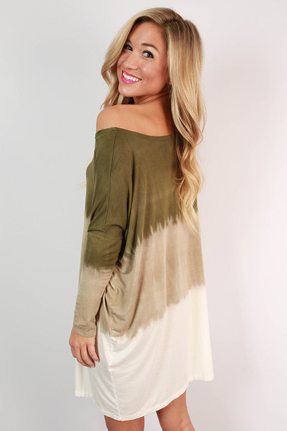 I'll Charm You Ombre Tunic in Army Green