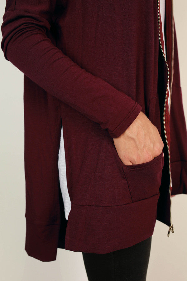 Chill Time Tunic Hoodie in Windsor Wine