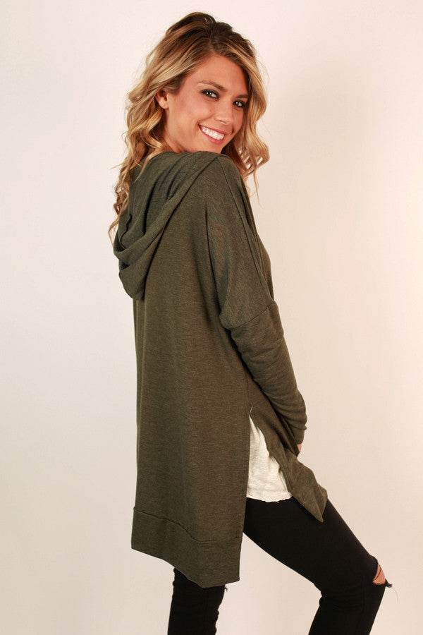 Chill Time Tunic Hoodie in Army Green