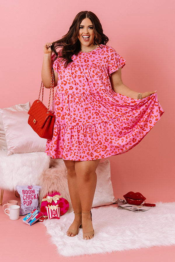 Dreaming Big Leopard Babydoll Dress in Pink