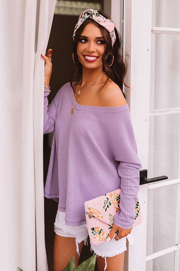 Your Dream Girl Waffle Knit Shift Top in Lavender