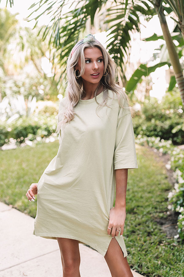 Santa Cruz Chic T-Shirt Dress in Lime Punch