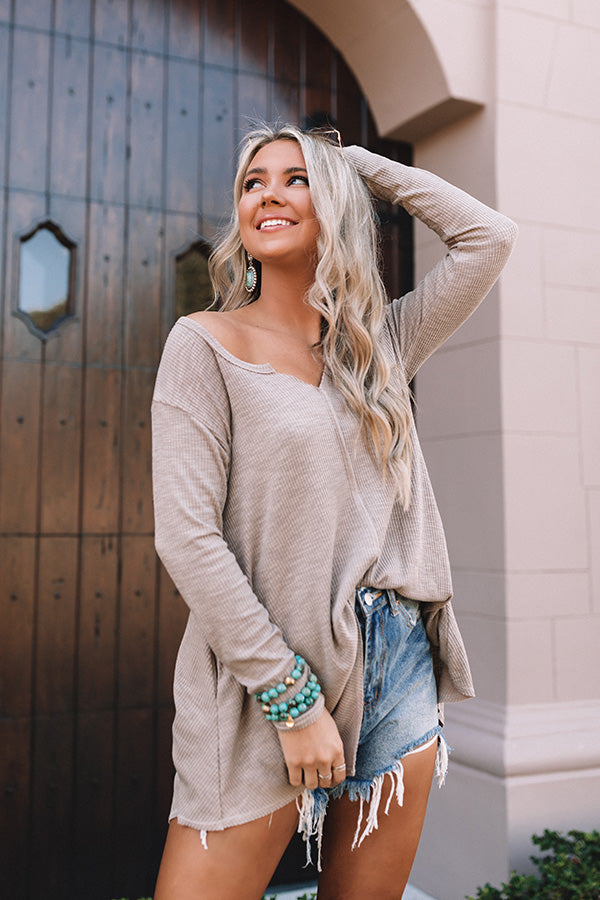 Peaceful Weekend Tunic Top in Taupe