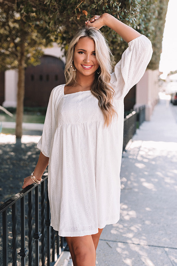 Flawless Touch Babydoll Dress in White