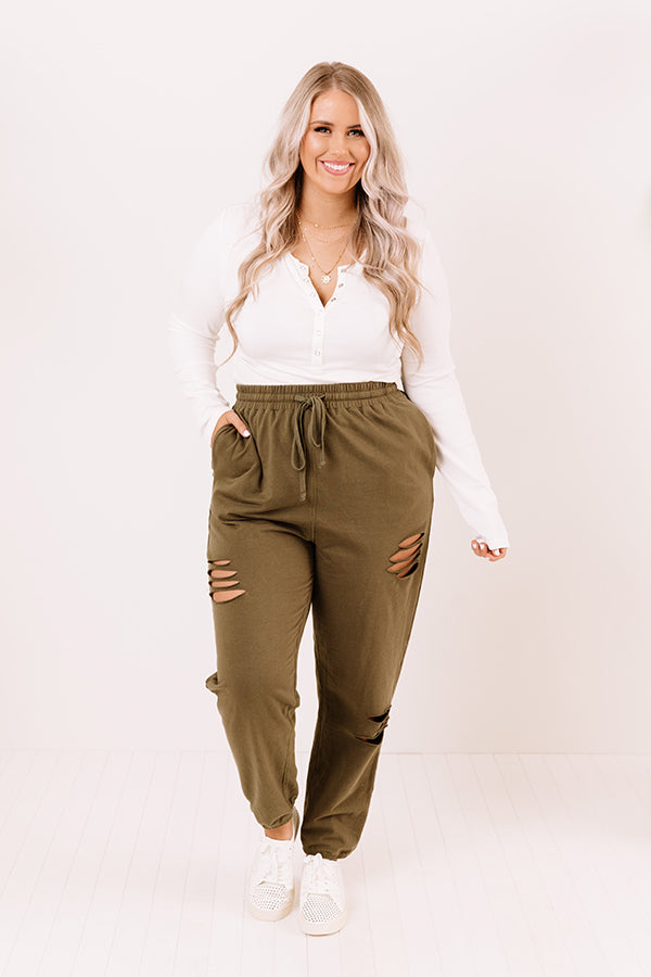 The Pike High Waist Distressed Joggers in Olive