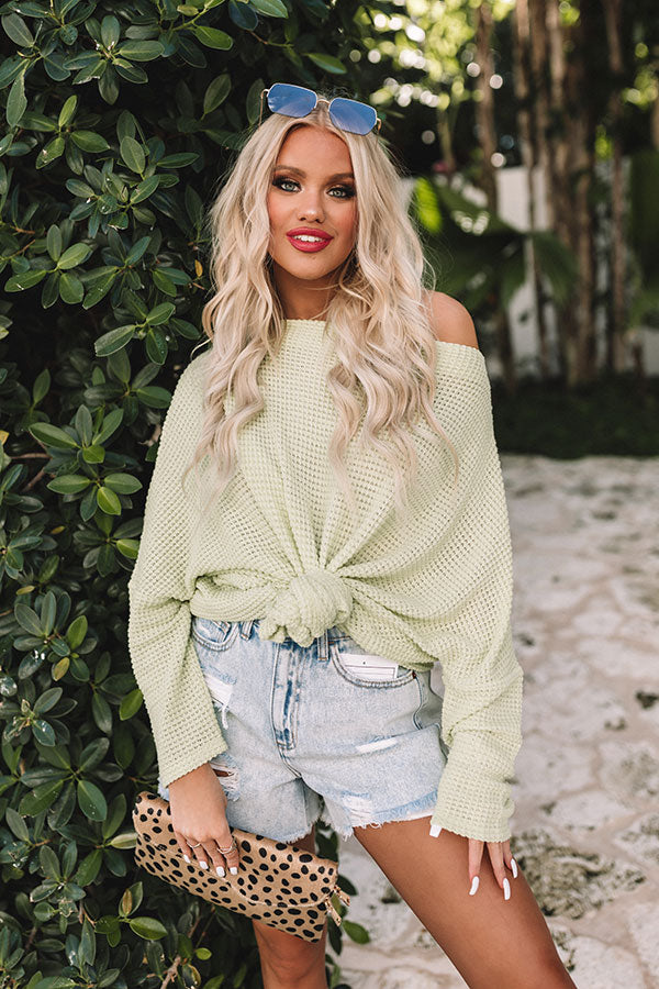 Easily Enchanted Waffle Knit Top In Lime Punch