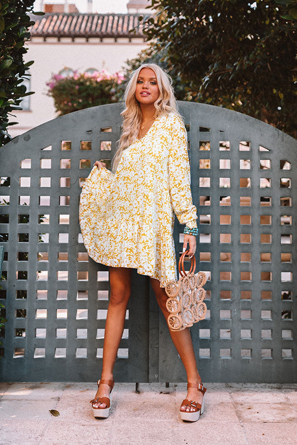 Fresh Friendship Floral Shift Dress in Golden Honey