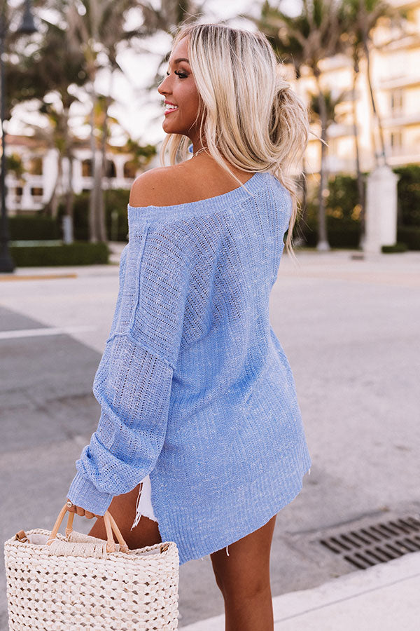 Trip To Flagstaff Knit Sweater in Sky Blue