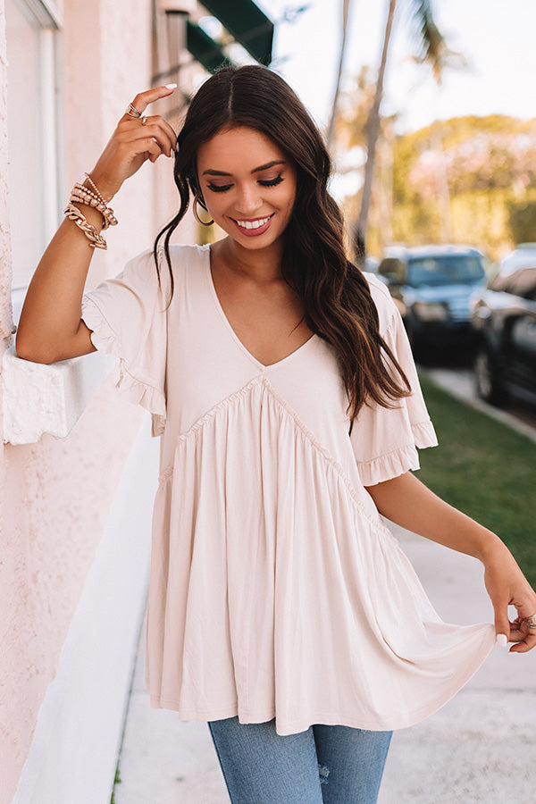 Brunchin' Babe Babydoll Top In Cream