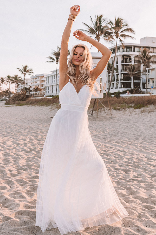 True Romance Pleated Tulle Maxi Dress in White