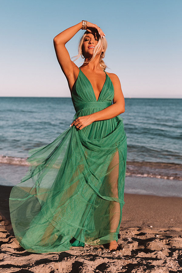 Just Say Yes Tulle Maxi in Green