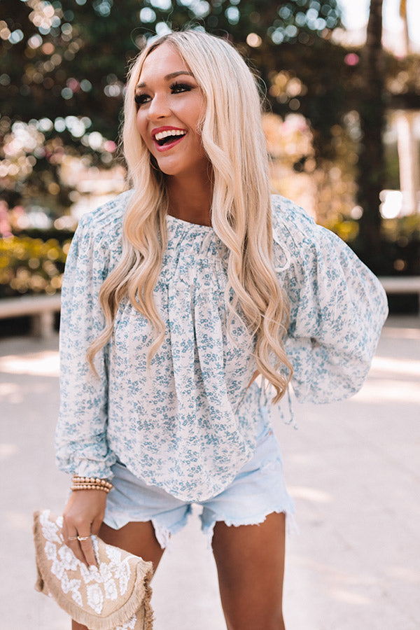 Hint Of Spring Floral Shift Top in Blue