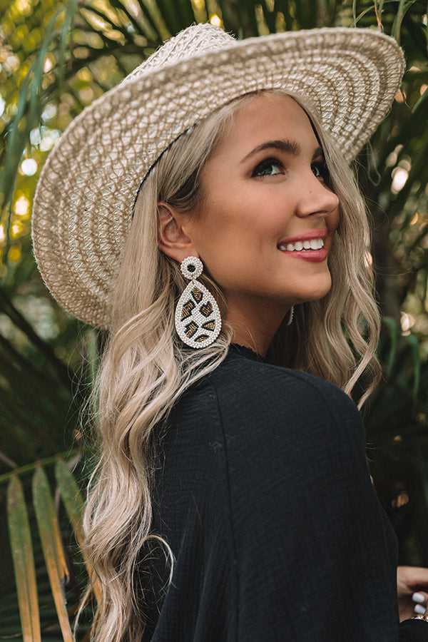 Baja Bombshell Beaded Earrings In White