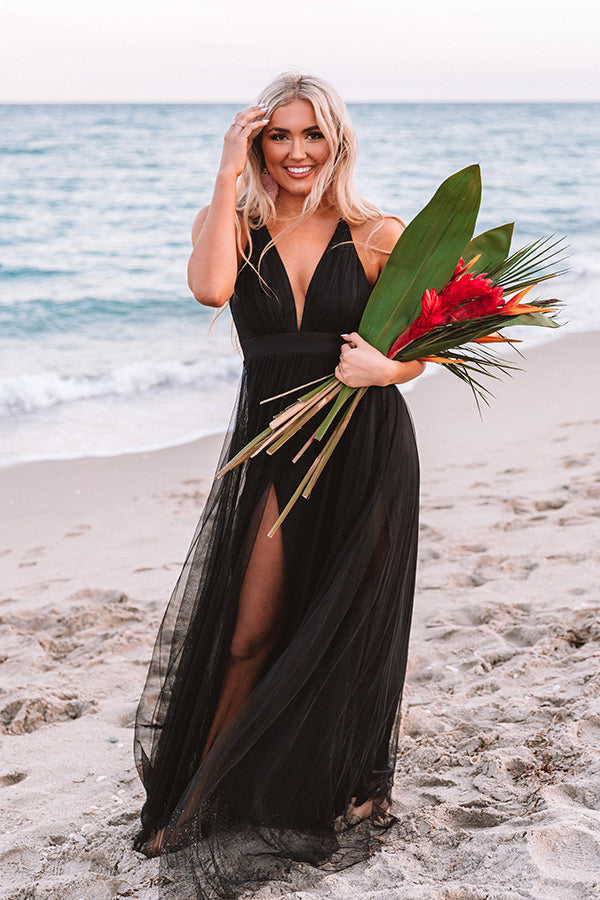 Just Say Yes Tulle Maxi in Black