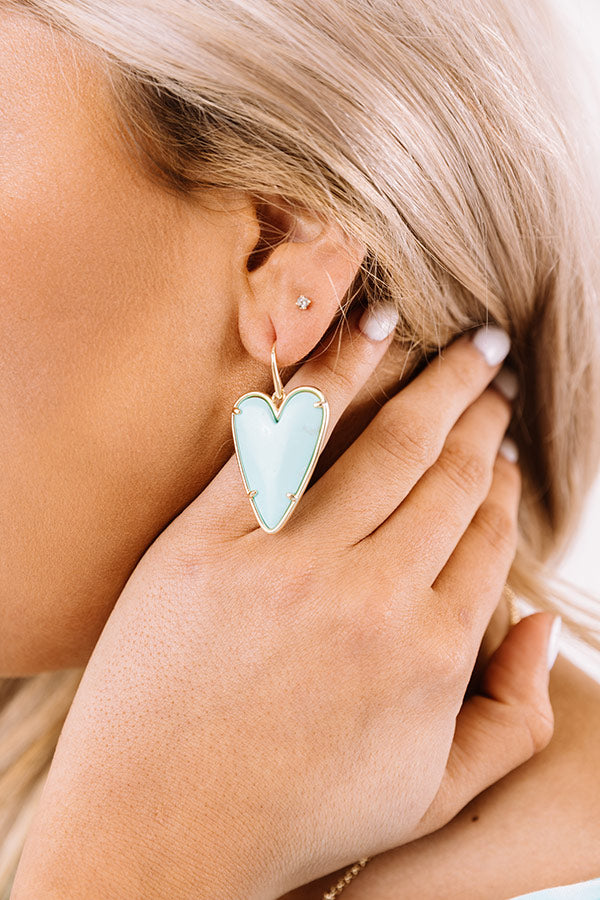 Ansley Heart Gold Drop Earrings in Light Blue Magnesite