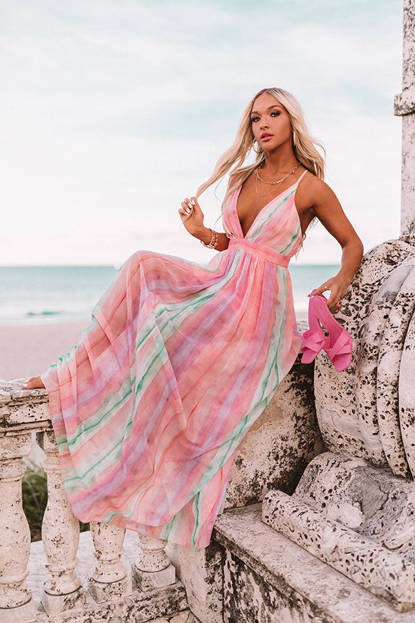 Watercolor Shores Maxi Dress in Pink