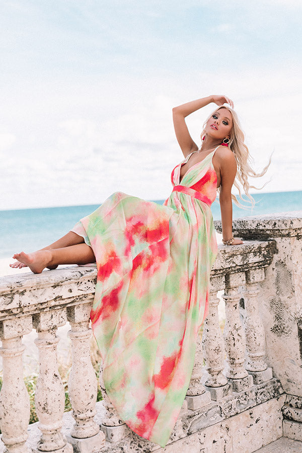 Island Romance Watercolor Maxi Dress
