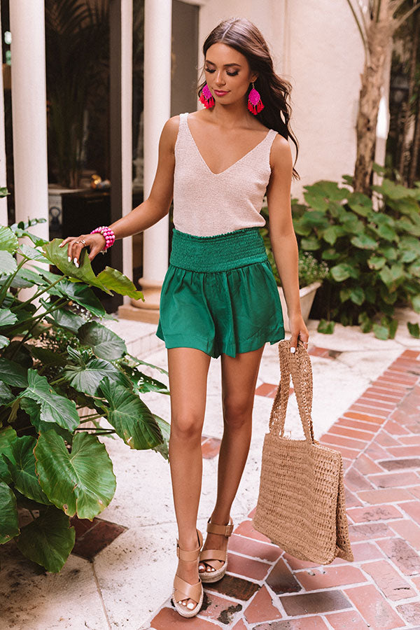 Always In Fashion Smocked Shorts in Green