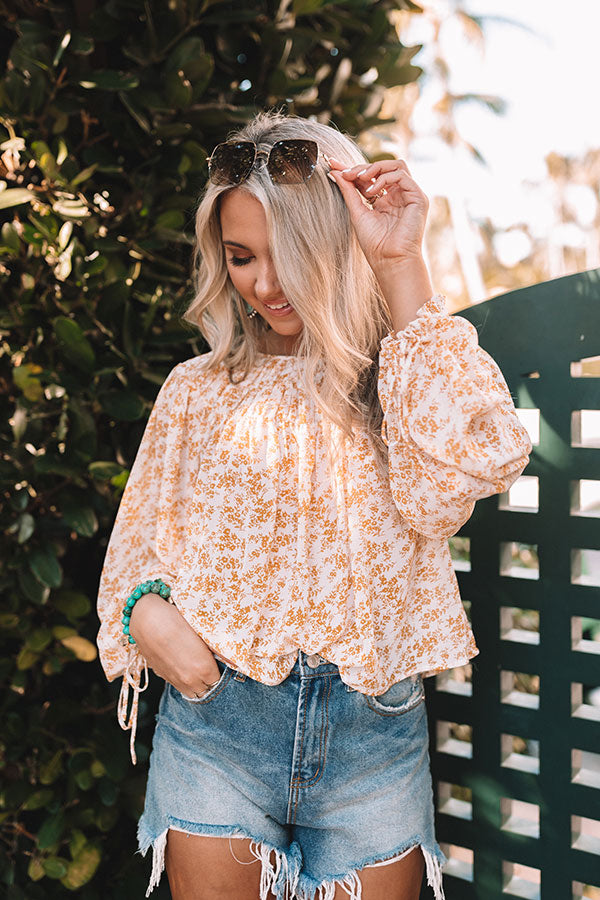 Hint Of Spring Floral Shift Top in Honey