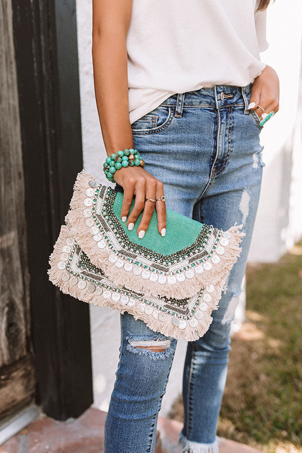 All The Way Embellished Clutch in Seafoam